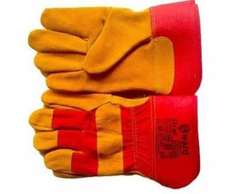 Перчатки комбинированные из оранжевого спилка с красной прочной тканью, с жестким манжетом. (Урал)